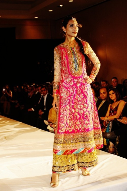 Shocking Pink Yellow Shirt for Mehndi Occasion With Embellished Trouser