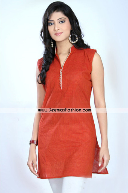 Stand Collar Kurti Designs : Pakistani simple kurta design orange kurti