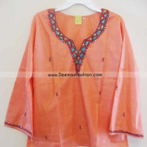 Ladies Kurta Fashion – Peach Short Kurti Wear