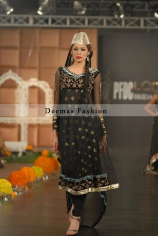 Simple Black Anarkali Frock with Churidar
