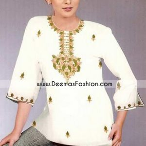 Latest Ladies Casual Kurtiz – White Embroidered Short Kurta
