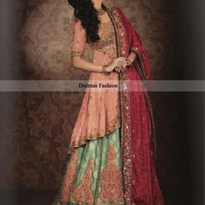 Top Pakistani Designers Bridal Wear 2013 Peach Green Lehnga