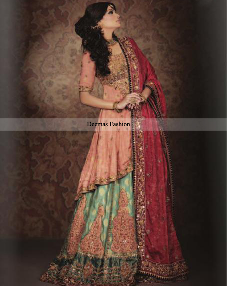 Top Pakistani Designers Bridal Wear 2016 Peach Green Lehnga