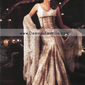 Pakistani Designer Wear Bridal Dress - White Embroidered Lehnga