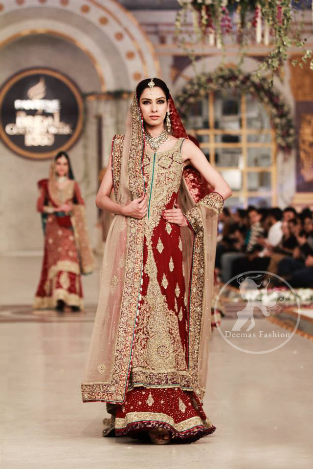 Wedding-Outfit-Deep-red-heavy-A-line-shirt-lehnga-with-light-fawn-dupatta