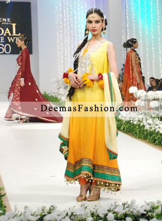 Yellow Latest Bridal Mehndi Wear outfit 2011