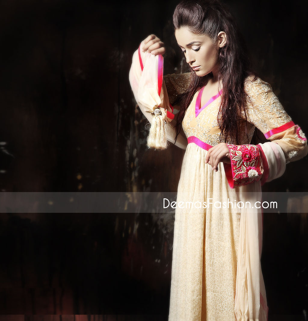 Buy Latest Fashion Dresses – Beige Chiffon Pishwas Outfit