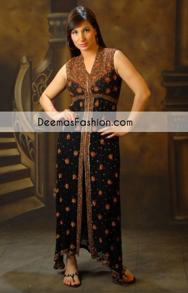 Black Party Wear Gown with Antique Embroidery - Latest Designer ...