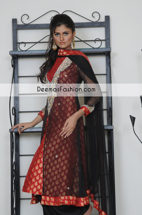 Black Red Party Wear Front Open Gown