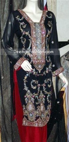 Pakistani Clothing Black - Red Tilla Work Dress