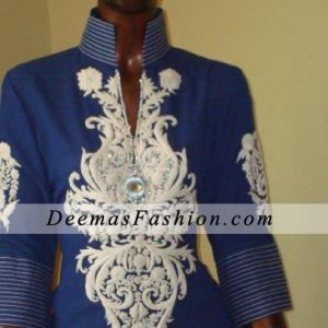 Blue Casual Wear Embroidered Dress