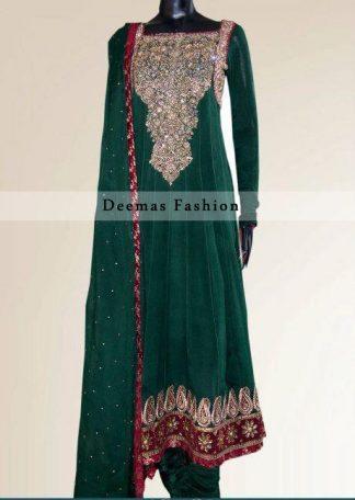 Bottle Green Anarkali Frock with Churidar Pajama