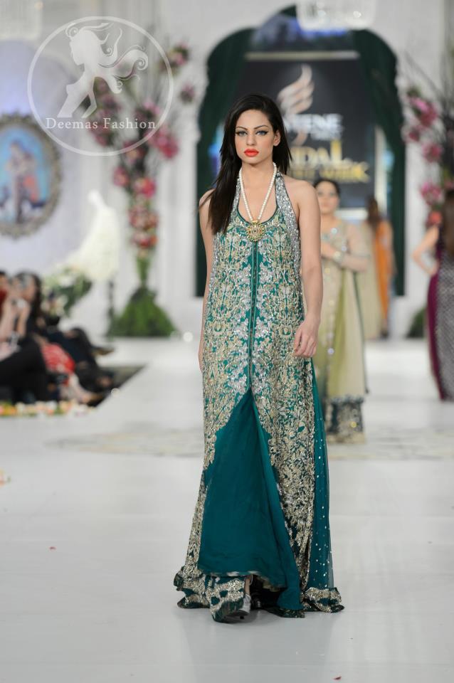 Bottle Green Heavy Bridal Front Open Gown Dress
