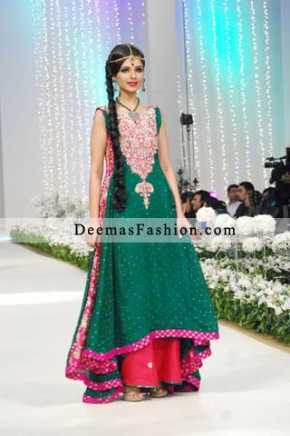 Latest Bottle Green Shocking Pink Formal Wear Sharara
