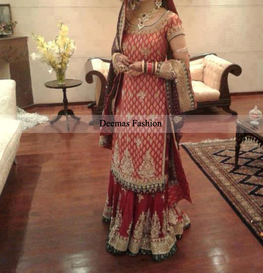Bridal Collection Red Long Shirt Lehnga