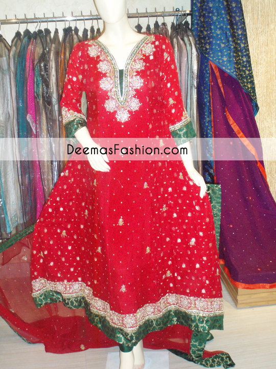 Bright Red Bottle Green Anarkali Frock Churidar