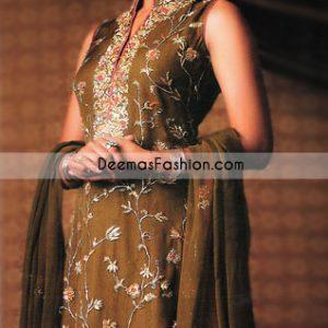 Ladies Fashion Wear Mehndi Green Shalwar Kameez