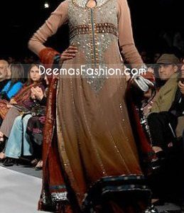 Pakistani Fashion Choclate Brown Anarkali Designers Outfit
