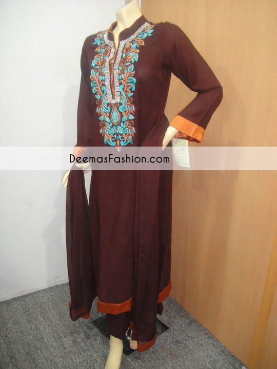 Dark Brown Casual Wear Aline Dress