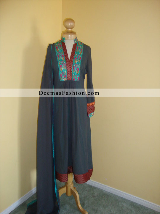 Dark Grey Embroidered A-Line Casual Dress
