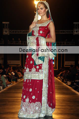 Deep Red Bridal Wear Lehnga