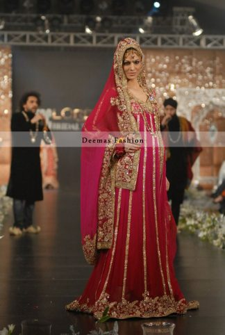 Deep Red Bridal Wear Pishwas