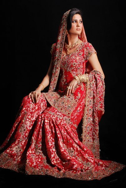 Traditional Pakistani Bridal Dress Deep Red Gharara