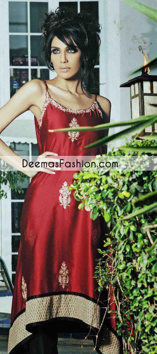 Deep Red Party Wear Aline Formal Dress