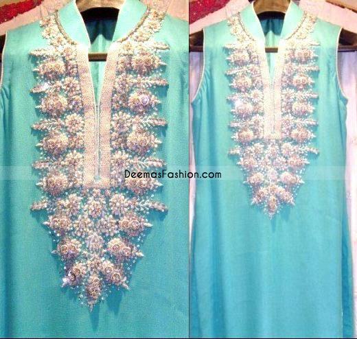 Designer Wear – Ferozi With Silver Embroidery