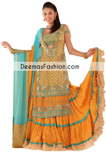 Golden Yellow Ferozi Double Layer Shirt Mehndi Wear Lehnga