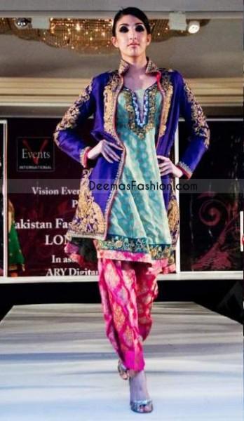 Gown StylePurple & Sea Green