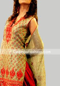 Buy Pakistani Ladies Olive Green Red Salwar Kamiz