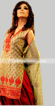 Buy Pakistani Ladies Olive Green Red Salwar Kamiz