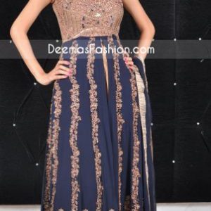 Traditional Pakistani Dress Royal Blue Anarkali Peshwas