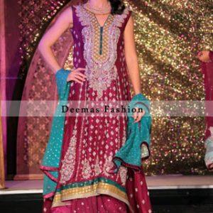 Latest Bridal Fashion Dark Pink Back Tail Frock Sharara