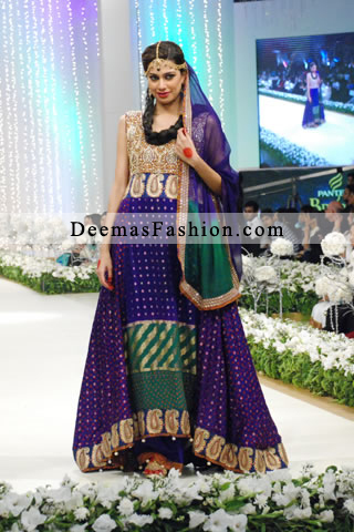 Latest Pakistani Designer Wear Multi Colour Heavy A-line Dress