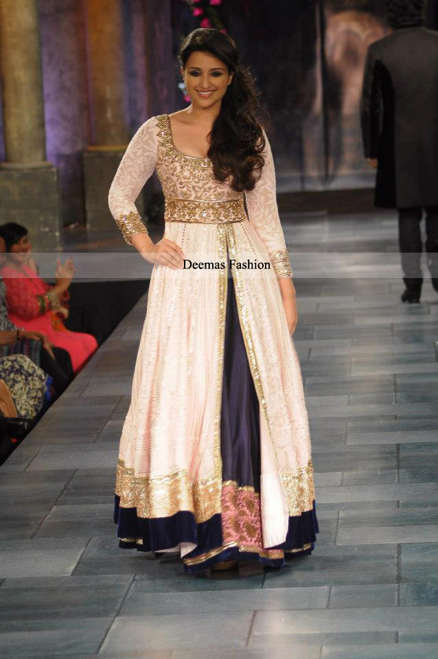Latest Pakistani Dress Off-White Navy Blue Gown Lehnga