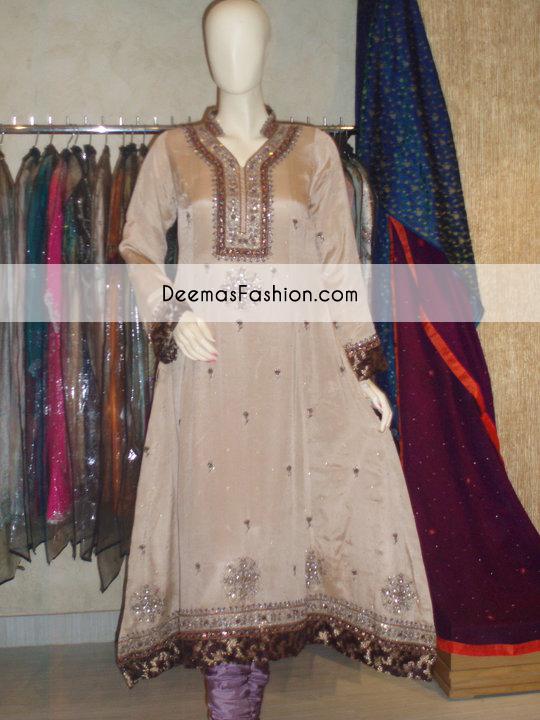 Light Brown Aline Anarkali Frock Churidar Dress