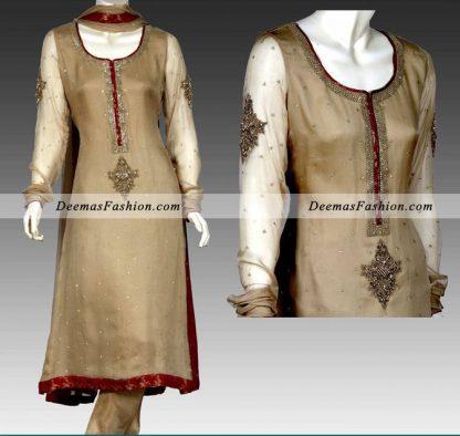 Light Brown Maroon Aline Shirt Churidar