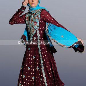 Pakistani Fashion Maroon Ferozi A-Line Anarkali Frock