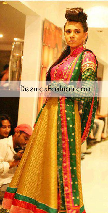 Multi Bridal Mehndi Wear Frock Churidar