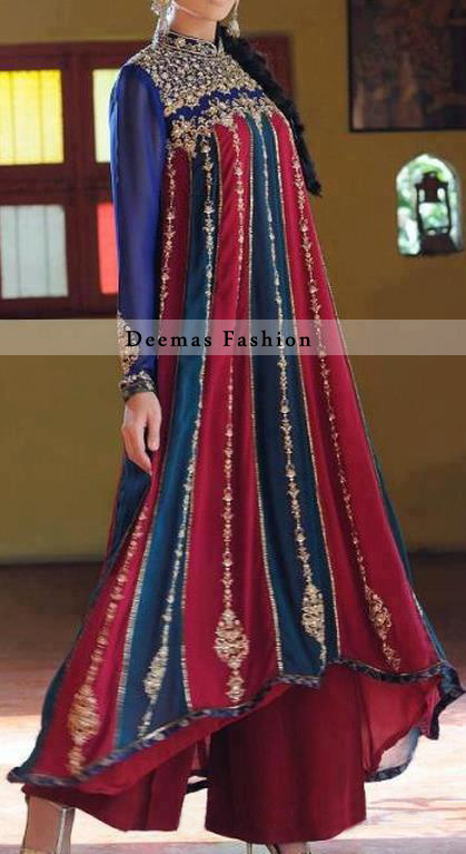 Multi Color Back Tail Anarkali Frock