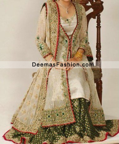 Off White Green Lehnga With Gown Style Long Shirt