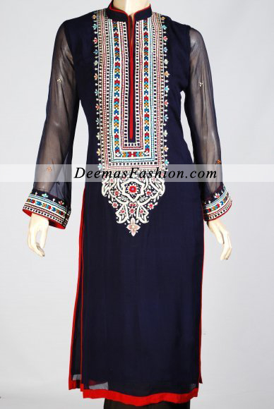Pakistani Fashion Dress 2016 Navy Blue Casual Wear