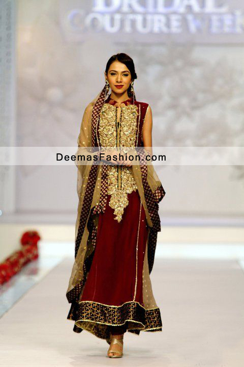 a2bb3ce492b2 Party Wear Dress Maroon Golden A Line Dress - Latest Designer ...
