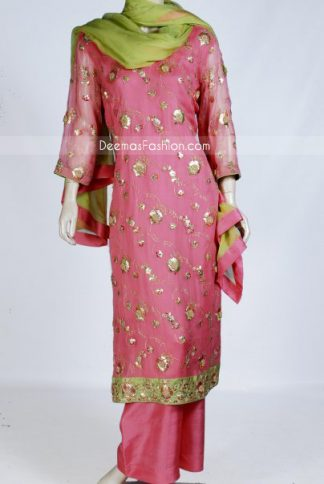Pink crinkle chiffon long shirt features classic subtle floral and leaf embroidery work on front and sleeves
