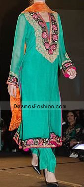 Sea Green Chffon With Floral Border