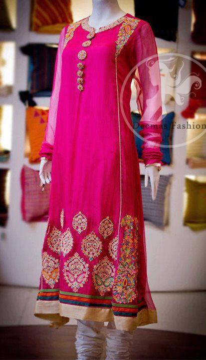 Shocking Pink Pure Chiffon A-Line Frock And White Churidar