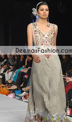 Silver Grey Party Wear Anarkali Pishwas Dress