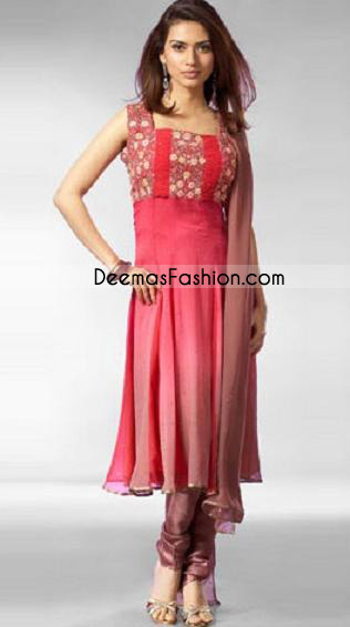 Pakistani Designer Wear - Simple Pink Red Anarkali Dress